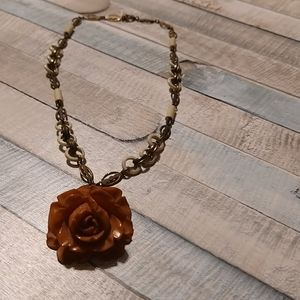 Vintage Craved Bakelite Rose choker